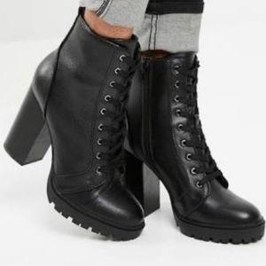 Steve Madden Laurie black high heel hiking boots
